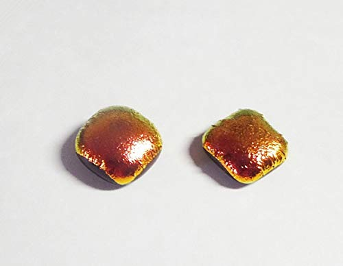 Satin Orange Dichroic Handcrafted Fused Glass Studs 11mm Rounded Square Earrings A10