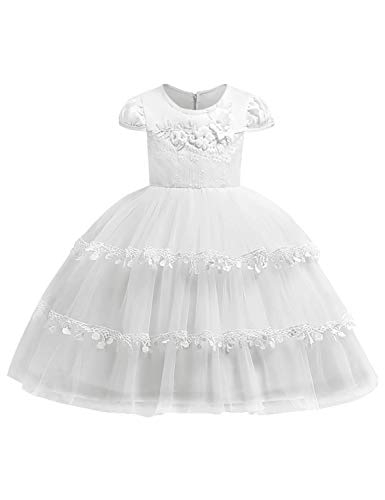 JOYMOM Flower Girl Dress,Juniors Cap Sleeve Boat Neck Multi Layers Ball Gowns Kids Aline Empire Waist Fluffy Party Dresses Baptism Clothes Birthday Gift White Size(150) 9-10 Years