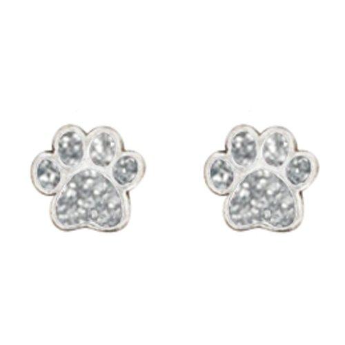 rockin' doggie Pewter Paw Earrings, Silver rockin' doggie 844587016760