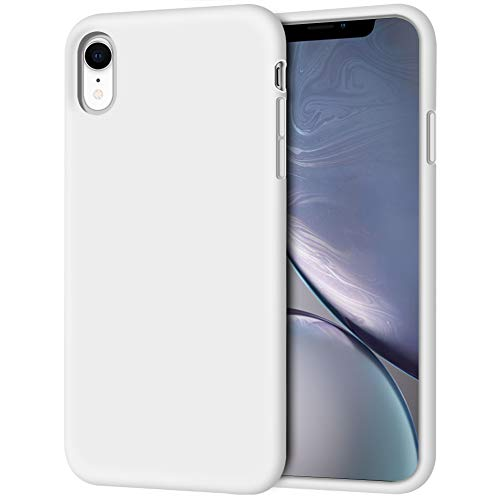 iPhone XR Case, Anuck Soft Silicone Gel Rubber Bumper Phone Case with Anti-Scratch Microfiber Lining Hard Shell Shockproof Full-Body Protective Case Cover for Apple iPhone XR 6.1 2018 - White