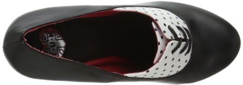 Tuk Bombshell Heel, Women's Ankle Strap Pumps Black (Black and White Polka Dots)