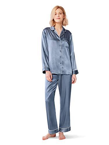 (SIORO Silky Pajamas for Women Satin Pajama Sets Long Sleeve Button Down Sleepwear PJ's Soft Loungewear, Blue Grey, M)