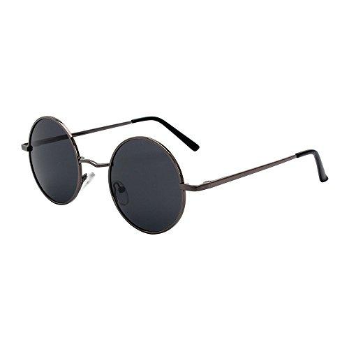 La Retro Gris Diseño Metal Frame Sunglasses Hippy Classic de Round Punk primavera de Frame Color Pistola qAZaOwqfU