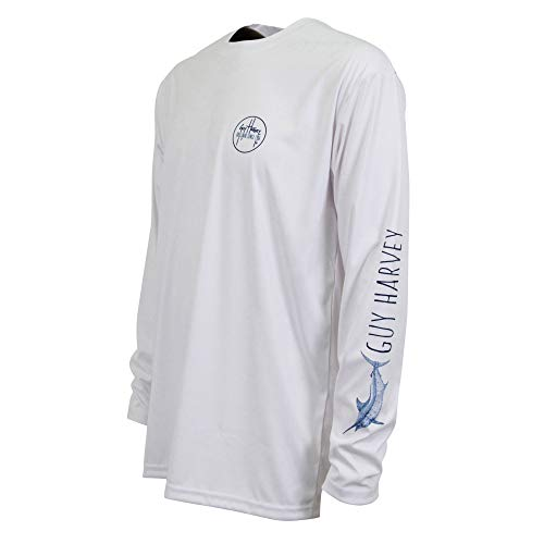 Guy Harvey Men's Marlin Sketch Pro UVX Performance Long-Sleeved T-Shirt, White, XX-Large