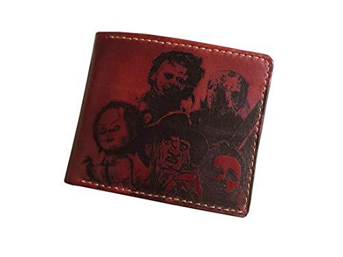Unik4art - Horror characters movie Halloween killer leather mens wallet bifold (Chestnut) -