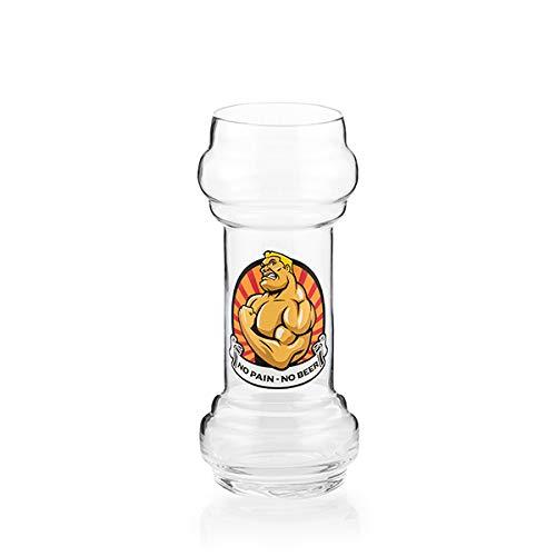 OOTB Bierglas Hantel Glas Muskel No Pain - No Beer, 830 ml, H22 cm #78/7938