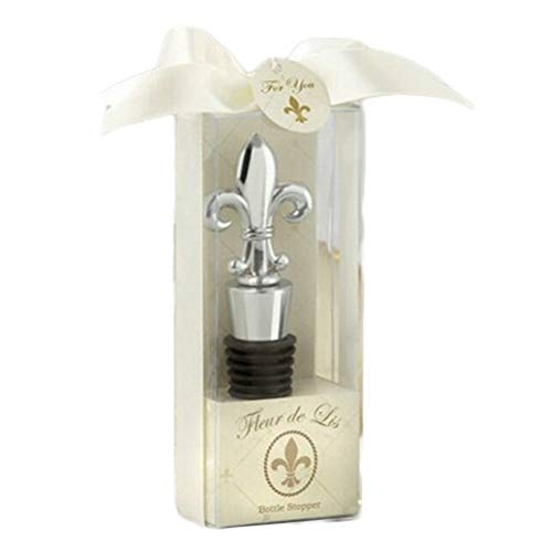 Pack of 3, Alloy Fleur De Lis Shape Reusable Wine Beverage Bottle Stoppers with Gift Box for Guests Adults Travel Theme Baby Shower Bridal Shower Party Supplies Engagement Wedding Gift
