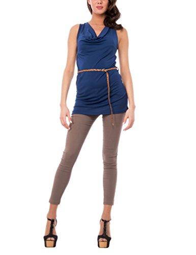 AD Anello Cintura Isabella Chemisier Femme Casacca Navy E Smanicata Intrecciata Bleu Scollo Roma Con HTA6Bw