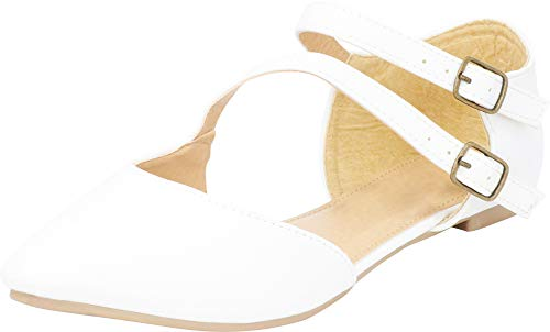 Cambridge Select Women's Pointed Toe D'Orsay Crossover Strappy Double Buckle Ballet Flat,8.5 B(M) US,White PU