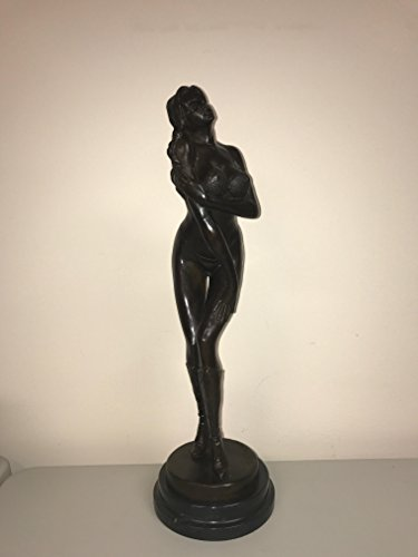 Bronze Brass Art sex sculpture - SEXY GIRL - PUSHING BREASTS UP - POPPING OUT - FULLY NAKED - BRONZE NAKED STATUE - VERY DETAILED - MARBLE BASE - sexy statues (Brass Marble Sculpture Statues)