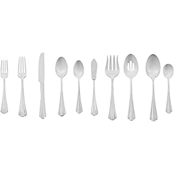AmazonBasics 65-Piece Stainless Steel Flatware Set with Scalloped Edge, Service for 12