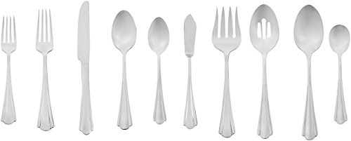 AmazonBasics 65-Piece Stainless Steel Flatware Silverware Set with Scalloped Edge, Service for 12 (Set Serving Fish Sterling)