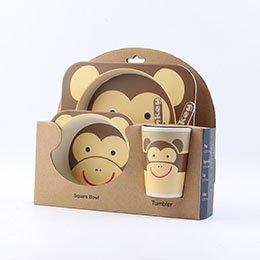 5pcs/set Children Cartoon Dinnerware Set Animal Printed Bamboo Fiber Tableware Kids Feeding Dish School Food Container Kangsanli (Monkey)
