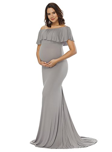 justvh women's off shoulder ruffles maternity slim fit gown maxi photography dress gray m