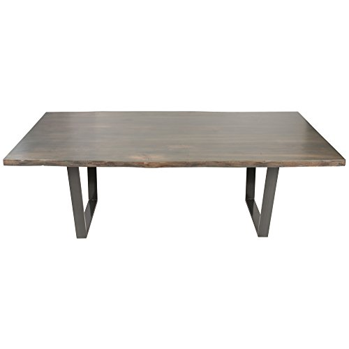 Live Edge North American Walnut Dining Table, 84″, Satin Antique Grey