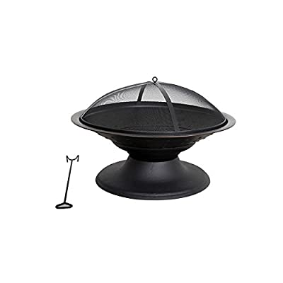 Garden Treasures 29.5-in W Black/High Temperature Painted Steel Wood-Burning Fire Pit - Steel base construction Dome shape screen with high temperature paint Fire grate, tool and PVC cover included - patio, fire-pits-outdoor-fireplaces, outdoor-decor - 31 qA8%2BkJ0L. SS400  -