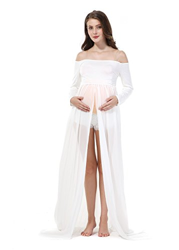 Sexy Pregnancy dress Chiffon Photography Skirt Maternity Photo Shoot Clothing long sleeve white