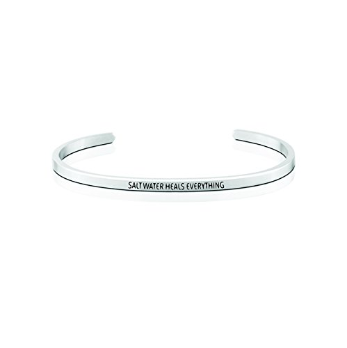 Salt Water Heals Everything Silver Bracelet-Gifts for Surfer Girls|Ocean Inspired JewelrylBracelet for Women|Gifts for Women|Sea Salt|Wetsuits Women|Surf Related|Sun Kissed|Valentines|Birthday Gifts