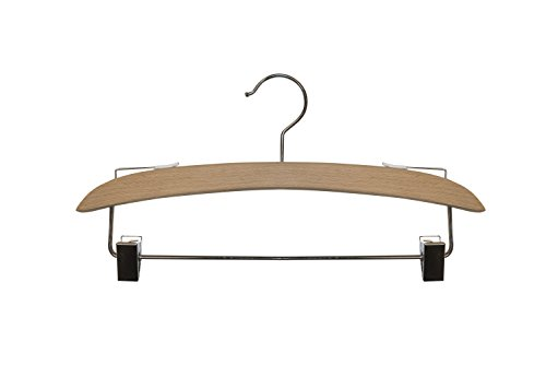 NAHANCO NH11 11 7/8'' Wide Beech Wooden Hanger with Chrome Hardware and Fine, Rubber-Tipped Grips. (Pack of 100) by NAHANCO