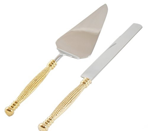 Cake Server, Pie Server, Server Set of Cake Knife and Server, Desert Flatware,String of Beads Design, 2-piece, 18/10 Stainless steel with brass handles (light antique gold (Bead Wedding Cake Knife)