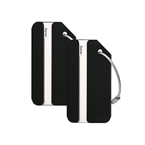 - Aluminum Luggage Tags Holders, Luggage Baggage Identifier by LouisJoeYu (Black-2)