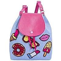 Bolsa Infantil Princesa Pink Mochilão Patch Jeans Azul