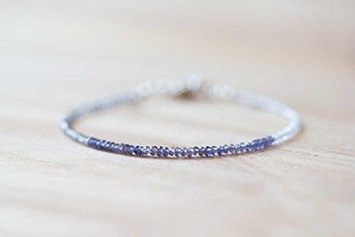 JP_Beads Ultra Delicate Iolite, Rainbow Moonstone & Labradorite Bracelet, Multi Gemstone Skinny Stacking Bracelet, Iolite Bracelet, Moonstone Jewelry 2mm 7 inches ()