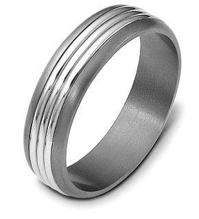 - 5.5mm Titanium & 18 Karat White Gold Triple Bar Wedding Band Ring - 11.75