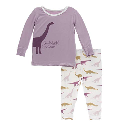 Print Pyjama Bottoms - Kickee Pants Little Girls Print Long Sleeve Pajama Set - Natural Goodnight Dinosaur, 12 Years