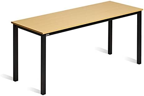 DECOHOLIC Modern Computer Desk 63 Inch Large Workstation Office Desk Computer Table Study Writing Desk for Office Home, Industrial Style,Oak Board Black Leg