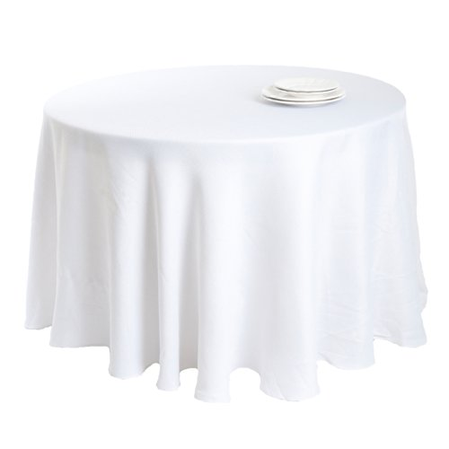 Saro LifeStyle 9113.W132R  Basket Weave Design Tablecloth, White, 132'' by SARO LIFESTYLE
