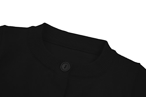 RJXDLT Girls Cardigan Knit Sweaters Long Sleeve Button Cotton Sweater 9-10Y Black by RJXDLT (Image #4)