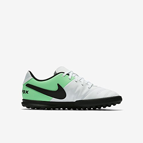 JR Tiempo Rio III TF Kids Astro Turf Trainers - White/Electro Green