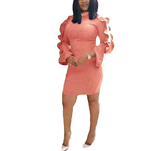 et Sleeve Shirt Solid Long Sleeve Bodycon Elegant Women's Mini Dress (Color : Pink, Size : M) ()