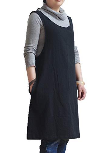 Soft Cotton Linen Apron Solid Color Halter Cross Bandage Aprons Japan Japanese Style X Shape Kitchen Cooking Clothes Gift for Women Chef Housewarming (Black)