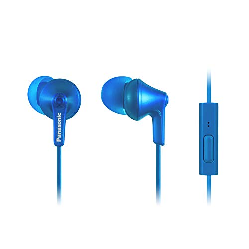 PANASONIC ErgoFit Earbud Headphones with Microphone and Call Controller Compatible with iPhone, Android and BlackBerry - RP-TCM125-AA - in-Ear (Metallic Blue)