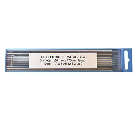 Electrodos de tungsteno lantanizados azul WL20 1,6 x 175 mm.
