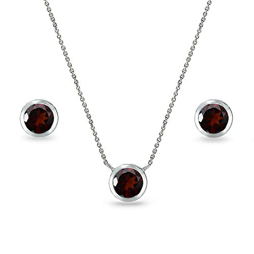 (Sterling Silver Garnet 5mm Round Bezel-Set Solitaire Small Dainty Choker Necklace and Stud Earrings Set for)