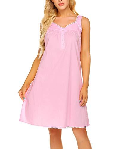 - Ekouaer Women Breathable Sleepwear Button Lace Soft Womens Night Shirts Sleeveless Pajama Dress(Misty Rose, L)