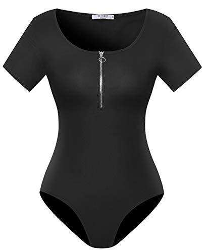 SUNRO Women's Sexy Short Sleeve Scoop Neck Zip Placket Ribbed Finish Bodysuits (Black, Small)