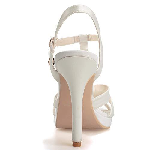 Femmes Hauts Boucle Sandales Mariage Talons Ivorywhite Slingback Cheville Chaussures Satin Un Fête Mot Soirée De Hlg fdqpp