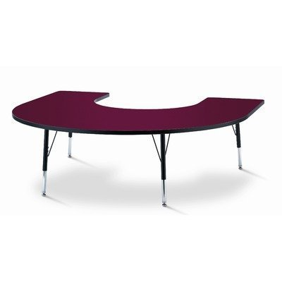 KYDZ Suite 66'' x 60'' Horseshoe Activity Table Table Size: 60'' W x 66'' D (Adult size: 24'' - 31'' H), Side Finish: Red by Jonti-Craft