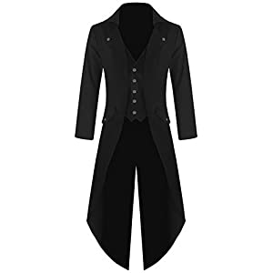 DarcChic Mens Gothic Tailcoat Jacket Black Steampunk VTG Victorian Coat