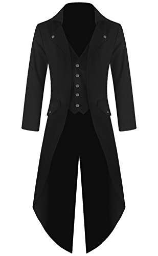 Mens Gothic Tailcoat Jacket Black Steampunk VTG Victorian Coat (XXXL, Black) (Steampunk Clothing Men)