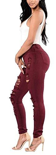 Aire Las Alta Mujeres Cintura Denim Con Grün Casuales Al Libre De Distressed Lápiz Pantalones Skinny Ripped Botón Bolsillos Vaqueros Stretch qpEwWTI