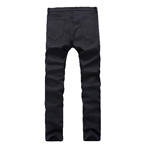 Jeans Pants Stretch Chettova Slim Trousers Denim Men Negro Hole Plisado Pencil Skinny gzfqXcfB