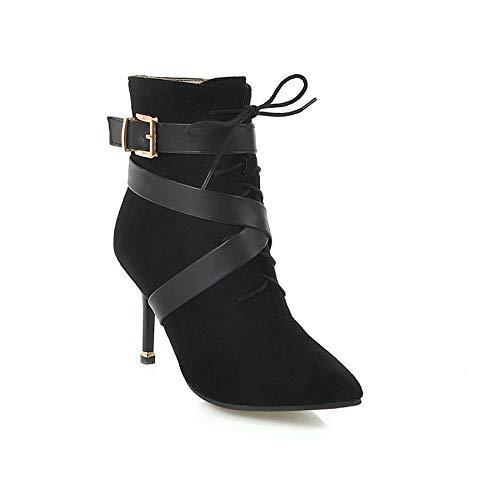 HAOLIEQUAN La Plate-Forme Femmes Boots All Match Zipper Chaussures Haut Mince Talon Mince Haut Femmes Bottes d'hiver Bottes Moto Taille 34-43 42|Black e90d21