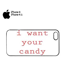 I Want Your Candy Funny Mobile Cell Phone Case Cover iPhone 4&4s Black by supermalls