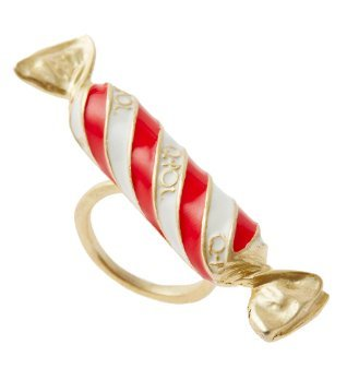 Q-pot. Stripe Candy Ring 6.75 US size Red Fashion Jewelry New