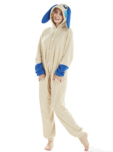 (Unisex Adult Pajamas Christmas Costume Snorlax One Piece Pajamas Stitch Onesies Cosplay Rabbit Blue)